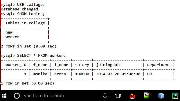 Show MySQL database tables