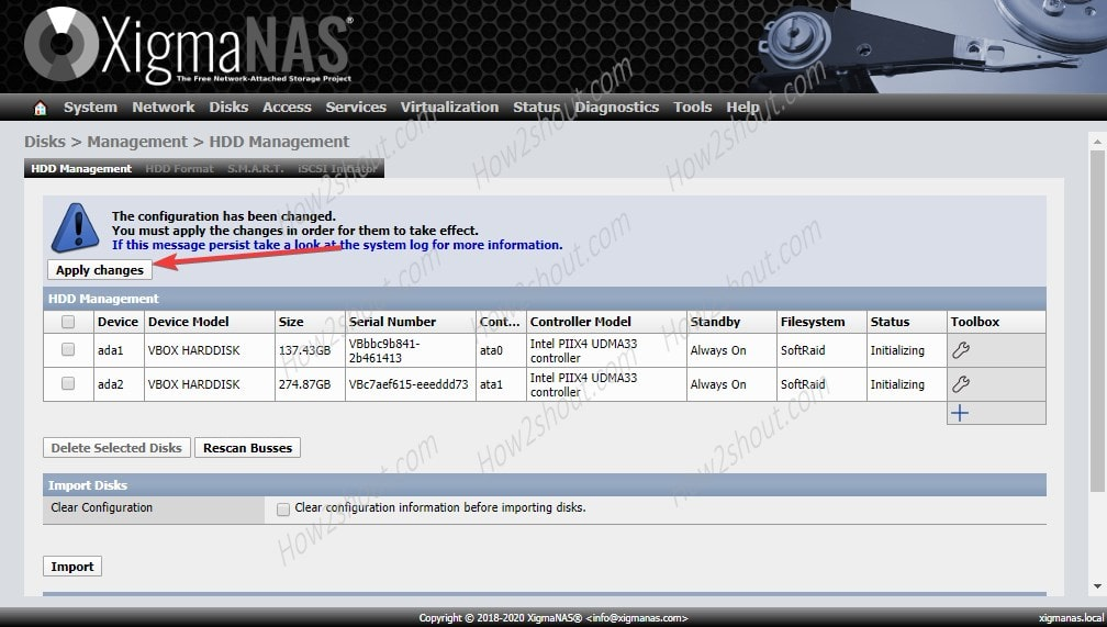 Format Hard drives and apply configuration