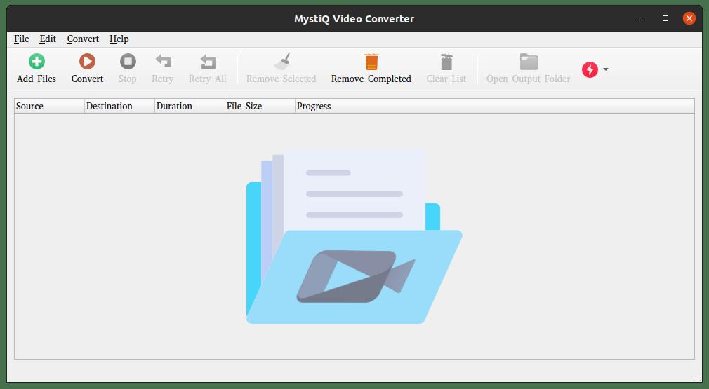 MystiQ Ubuntu 20.04 Linux video converter user interface