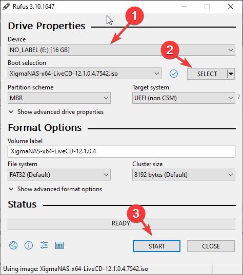 NAS4Free bootable USB drive