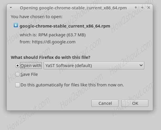 Select YAST 2 software manager to install chrome-min