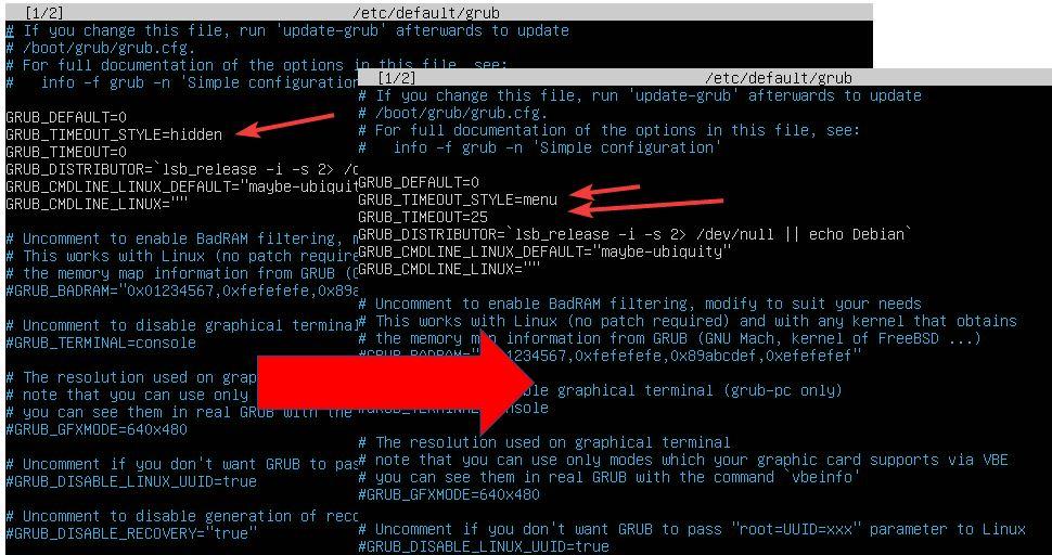 Show GRUB menu at boot time in Ubuntu