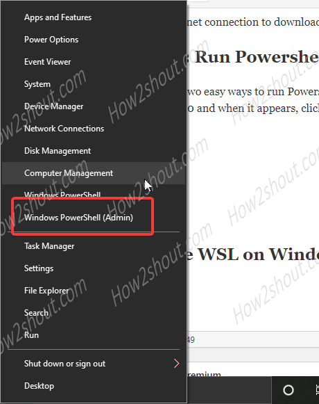 Start powershell admin from Windows start button