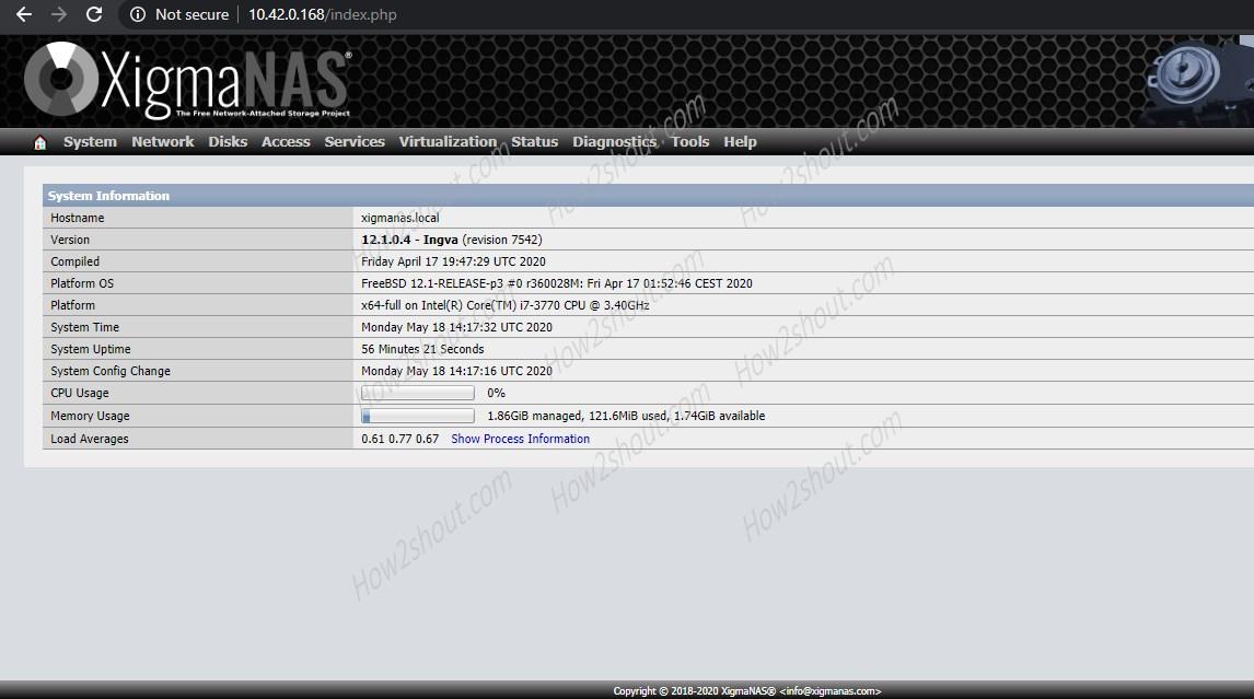 XigmaNAS interface