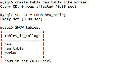 copy the structure of the old database table into a new table.